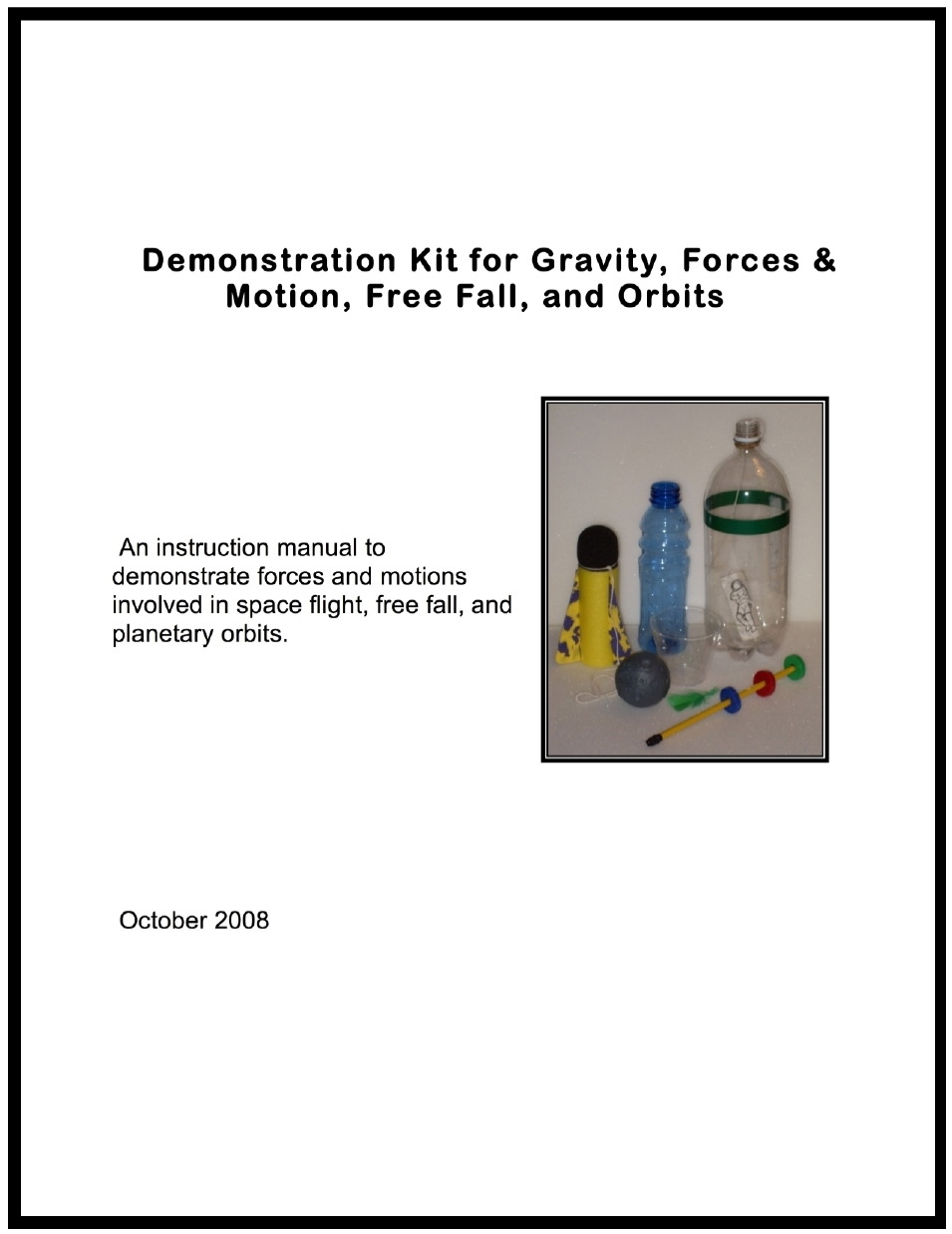 Demonstrating Microgravity Booklet cover